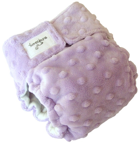 Lilac Purple fuzzy Minky Dot AIO Cloth Diaper 3-6 Months with PUL Velcro - Small