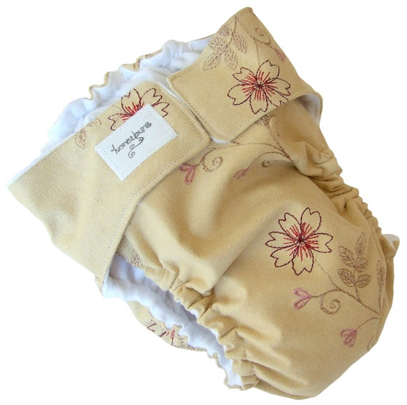 SALE Tan Suede Embroidered Flowers AIO Cloth Diaper with PUL Velcro - Large 18 Months Toddler