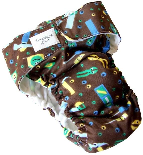 Brown Tools PUL AIO Cloth Diaper 18-24 Months - Toddler XL