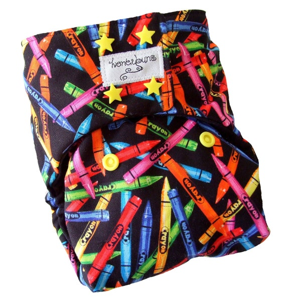 Neon Crayons Black One Size Cloth Diaper 12-35 lbs with PUL Yellow Star Snaps Bamboo Organic Cotton - Newborn Toddler