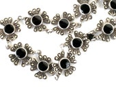 Vintage Sterling Silver Marcasite Onyx Necklace Signed
