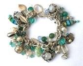 Gemstone Charm Bracelet Aqua Green Silver Moonstones Jade Beach