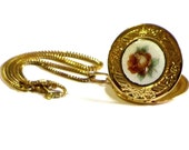 Vintage Guilloche Rose Locket and Chain Gold Ornate Photo Locket Gift For Her Romantic