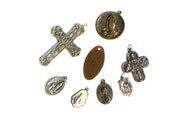 Religious Medals Charms Copper Brass Crucifix Serenity Prayer Lords Prayer Destash