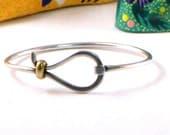 Vintage Taxco Modernist Bangle Bracelet Sterling Silver Brass Signed