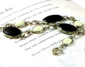 Cream Scarab and Black Cabochon Bracelet Upcycled Jewelry 12K GF