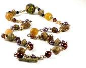 Bohemian Necklace Aventurine Jasper and Vintage Beads Copper Brass Gold