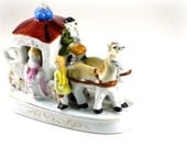 Vintage Porcelain Horse Drawn Carriage, Figurine, Mid Century Collectible, Japan