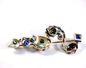 Vintage Brooch, Red,Blue, Green, Fuschia, Silver, Modern, Rhinestones, Rope