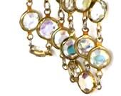Vintage Austrian AB Crystal Necklace Bezel Set Beveled Glass Designed Signed