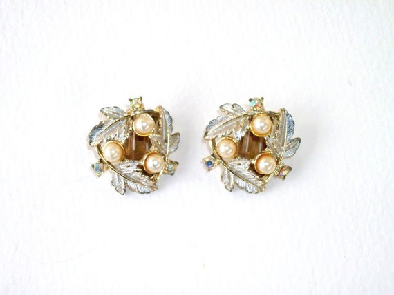 Vintage Earrings, Leaves, Silver and Gold, Pearl, AB, Judy Lee, Glamour Girl, Classic