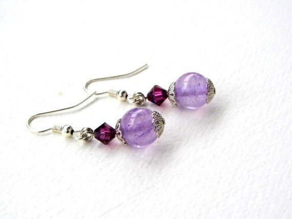 Lilac Amethyst and Swarovski Crystal Earrings Purple Lovers Mom Gift