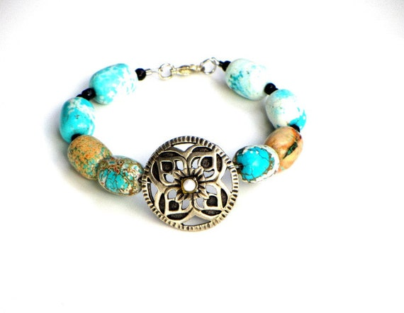 Reserved...Beaded Howlite Bracelet Turqouise Teal Copper Silver Symbol OOAK