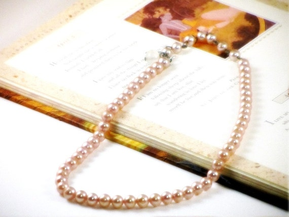Vintage Pearl Necklace, First Communion Necklace, Creamy Peach Pearls, Japan