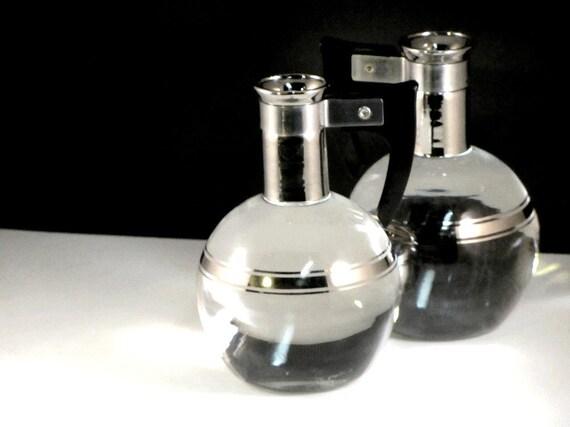 Vintage Bakelite and Glass Carafe Set Platinum Trim Inland Glass Works 1949 Mad Men Barware Man Cave