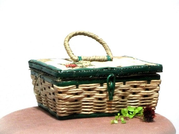Vintage Sewing Basket, Green and Natural, Rope Basket, Collectible, 1950's