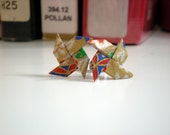 Origami Pinwheel Earrings - Gold and Red