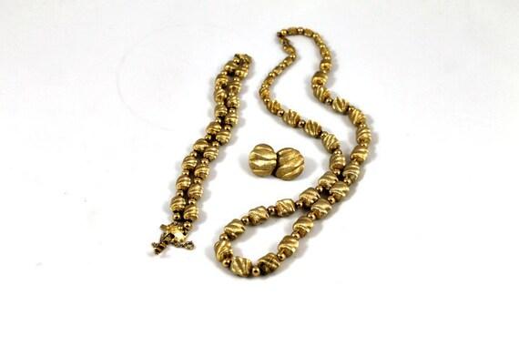 Vintage Monet necklace bracelet earring set, parure gold tone brushed matte