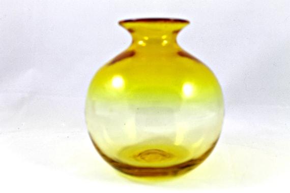 Vintage yellow blown glass bud vase