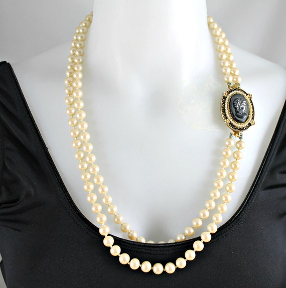 Vintage pearl necklace brooch combination wedding bridal double strand