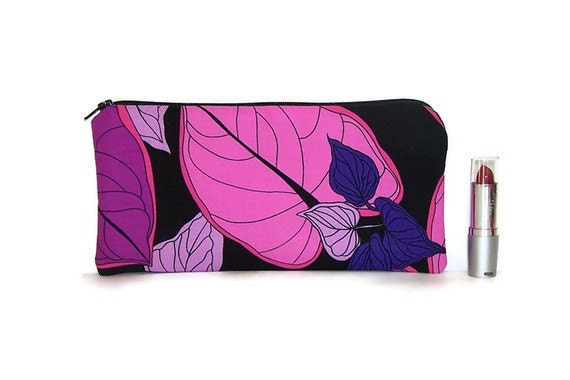 Zippered Pouch, Pencil Case, Makeup Case  in Purple Leaves on Black