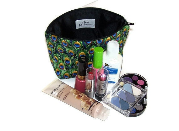 Make Up Case Cosmetic Bag in Peacock Feathers