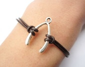 Bracelet---antique silver Wishing bone&brown leather chain