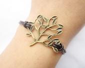 Bracelet---antique bronze tree&brown leather chain