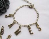 Bracelet---antique bronze letters pendant&alloy chain