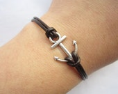 Bracelet---antique silver little anchor bracelet &brown leather chain