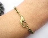 bracelet---antique bronze little giraffe pendant & alloy chain