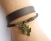 cute owl Bracelet---double-deck bracelet&brown leather braid chain