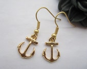 earrings---retro golden little anchor pendant &alloy ear hook