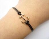 Anchor Bracelet---retro golden little anchor bracelet &brown leather chain