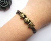 Multilayer leather bracelet---antique bronze personality three double sides little foxes bracelet & brown leather chain
