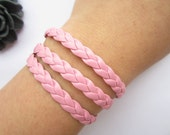 Personality leather Bracelet---three circles bracelet & pink leather braid chain