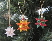 Set of Three Moravian Froebel Paper Star Ornaments