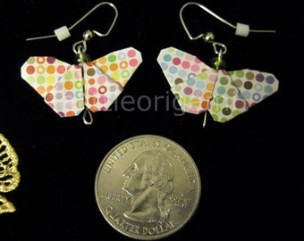Polka Dot Origami Butterfly Earrings