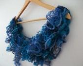 Knitting Ruffle Scarf Neckwarmer,Ready to Ship...
