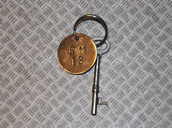 Steampunk skeleton key, key chain, room 13