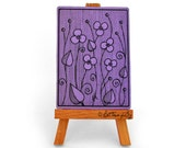 Purple ACEO print with violets, stylized drawn flowers, sketch card collection