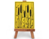 Yellow ACEO print with cattails (typha), artistic card, botanical collection, stylized design