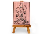 Pink cyclamens ACEO print, romantic art card collection with botanical illustration