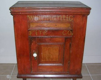 Antique Ice Box From The Willimatic Fire Co. Willimatic Connecticut-------- Now Reduced--------