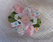 Loopy hair bow with button ribbon, pink, green, polka dot ribbon and pink button center