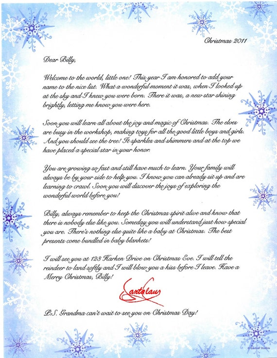 babys first christmas letter from santa babys first