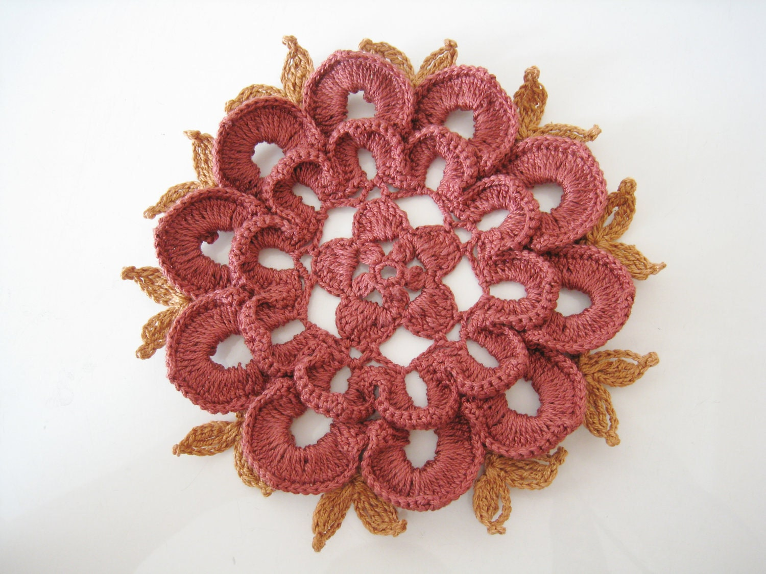 Modern table centerpiece crochet doily home decor with fall or