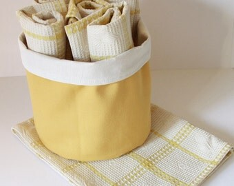 5 TeaTowels and fabric basket , Tea towels and basket, dish towel,Yellow ,Kitchen Eco friendly ,cotton
