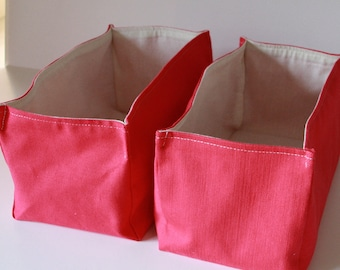 Fabric Storage Basket Organizer ,Pink