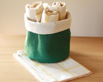 Tea Towel, Tea towels and basket, dish towel,Yellow ,Kitchen Eco friendly ,cotton